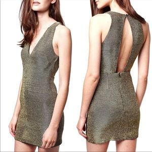 Topshop Gold Metallic Bodycon Dress